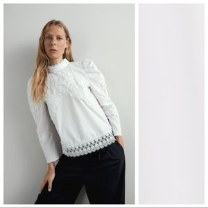 NWT. Zara White Contrasting Poplin Blouse. Size L.